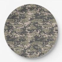 Classic Military Digital Camo Pattern Paper Plate