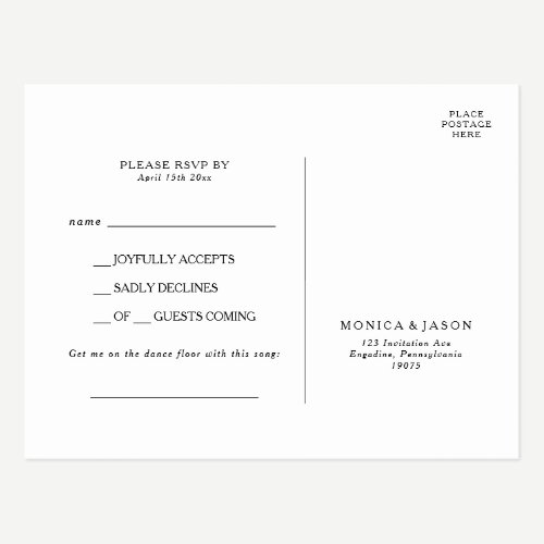 Classic Minimalist Song Request RSVP Postcard