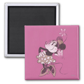 Classic Minnie | Distressed 2 Inch Square Magnet