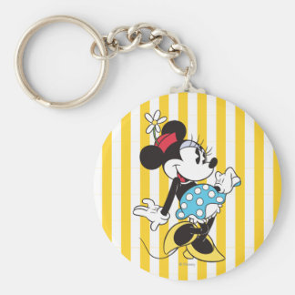 Classic Minnie Mouse 3 Basic Round Button Keychain