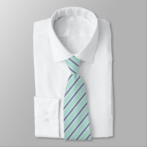 Classic Mint Green and Navy Stripes Neck Tie