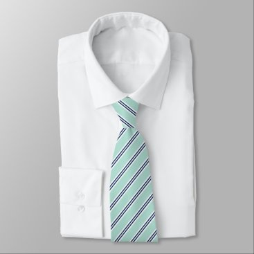 heartlocked Classic Mint Green and Navy Stripes Neck Tie