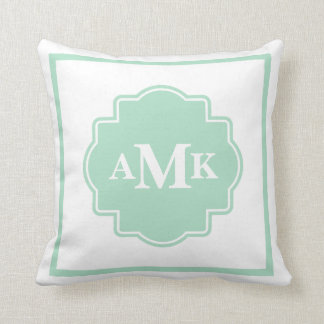 Classic Mint Green and White Monogram Pillow