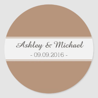 Classic Mocha Brown Save the Date Classic Round Sticker