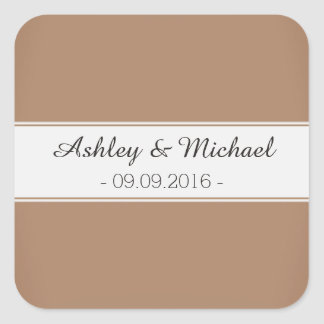 Classic Mocha Brown Save the Date Square Sticker