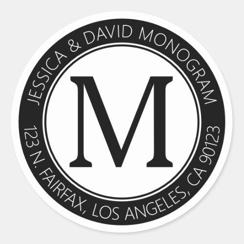 Classic Modern Look  Black  White Return Address Classic Round Sticker