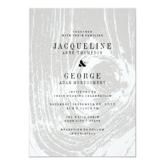 Classic Modern Rustic Wood Winter Wedding Invite