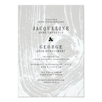 Classic Modern Rustic Wood Winter Wedding Invite
