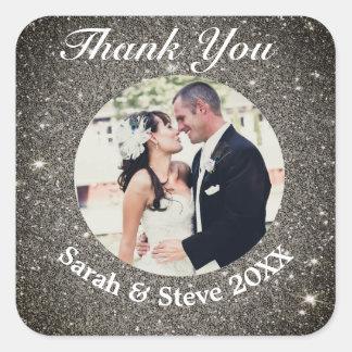Classic Modern Wedding Photo Thank You Sticker