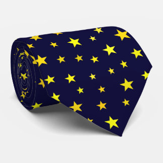 Classic Modern Yellow Stars on Navy Blue Neck Tie