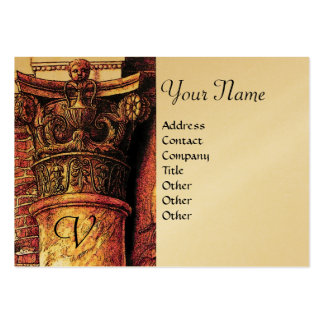 CLASSIC MONOGRAM 2 bright red yellow,gold metallic Business Cards