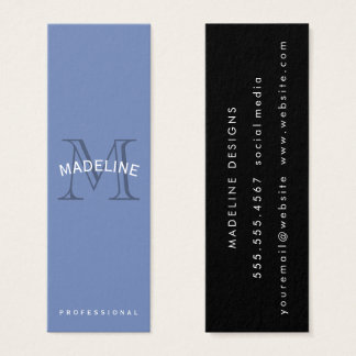 Classic Monogram Blue with Arc Text Mini Business Card