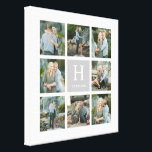 """Classic Monogram Collage Canvas Print<br><div class=""""desc"""">A custom canvas is a beautiful way to display your family photos. This classic collage design features a sophisticated family monogram in the center that proudly displays your family"""