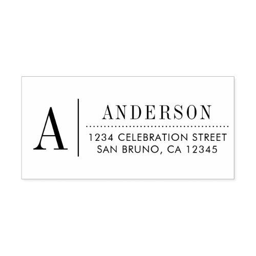 Classic Monogram  Custom Initial Return Address Rubber Stamp