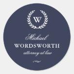 Classic Monogram Elegant Blue Business Sticker