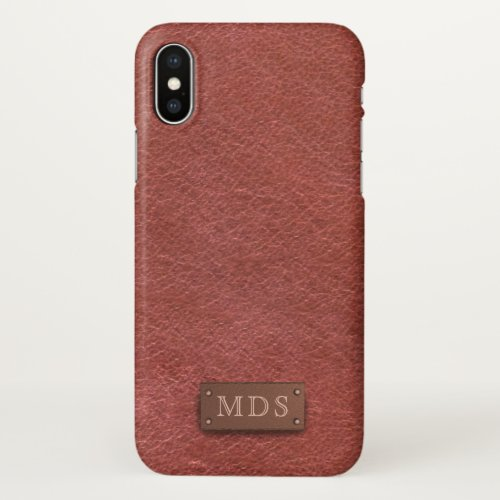 Classic Monogram Faux Oxblood Red Leather Look Phone Case