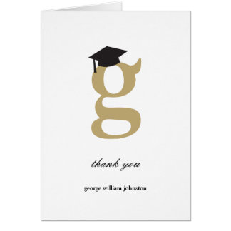 Classic Monogram G Graduation Photo Thank You Card