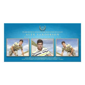 Classic Monogram & Gold Laurel Wreath Graduation Card