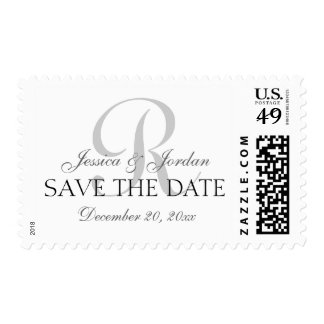 Classic Monogram Gray Black Save the Date Stamps
