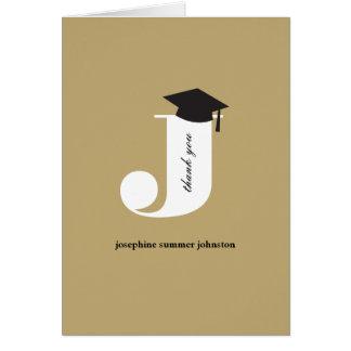 Classic Monogram J Graduation Photo Thank You Card