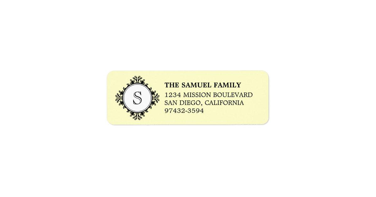 Classic Monogram Letter Cream Return Address Label