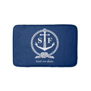 Classic Monogram Nautical Blue Anchor Beach Boat Bath Mat