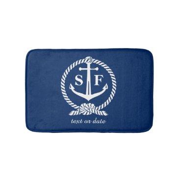 Beach Themed Classic Monogram Nautical Blue Anchor Beach Boat Bath Mat