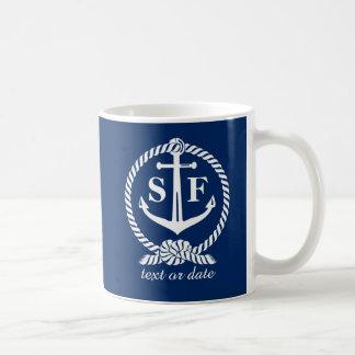 Classic Monogram Nautical Blue Anchor Beach Boat Coffee Mug