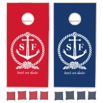 Classic Monogram Nautical Blue Anchor Beach Boat Cornhole Set