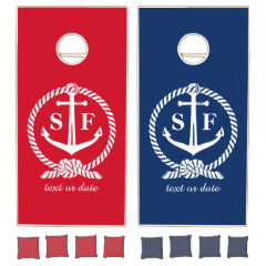 Classic Monogram Nautical Blue Anchor Beach Boat Cornhole Set
