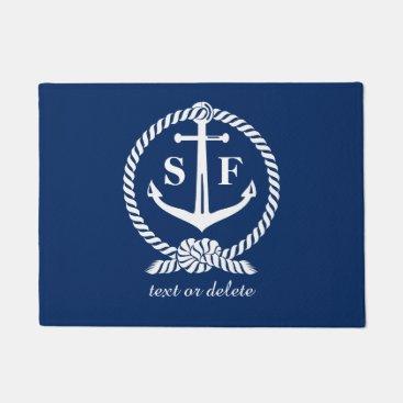 colorfulgalshop Classic Monogram Nautical Blue Anchor Beach Boat Doormat