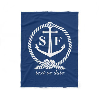 Classic Monogram Nautical Blue Anchor Beach Boat Fleece Blanket