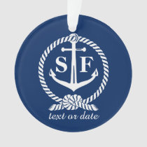 Classic Monogram Nautical Blue Anchor Beach Boat Ornament
