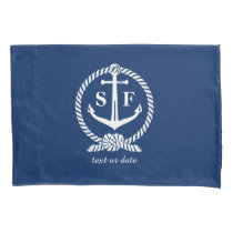 Classic Monogram Nautical Blue Anchor Beach Boat Pillowcase