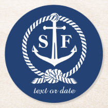Classic Monogram Nautical Blue Anchor Beach Boat Round Paper Coaster