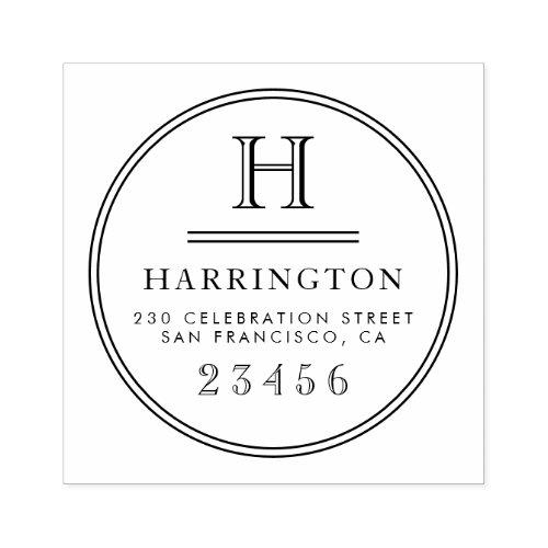Classic Monogram Typography Custom Return Address Rubber Stamp