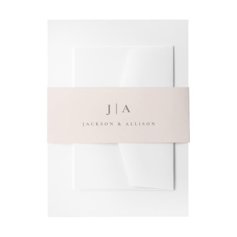 Classic monogram wedding bellyband invitation belly band