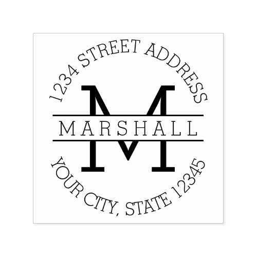 Classic Monogram with Name and Return Address Self_inking Stamp