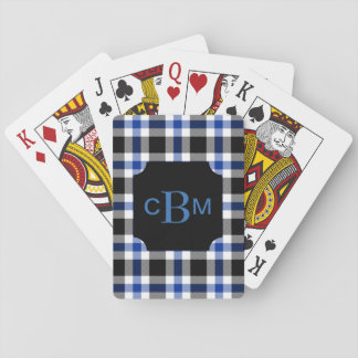 Classic Monogrammed Blue and Black Plaid Poker Deck