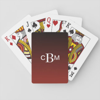 Classic Monogrammed Deep Red Gradient Poker Cards