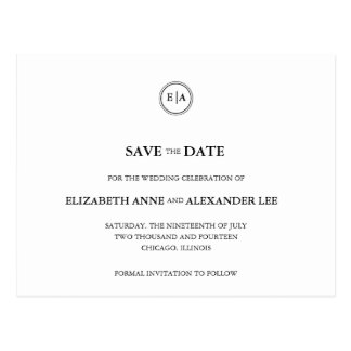 Classic Monograms Black & White Save the Date Postcard