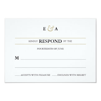 Classic Monograms Gold Response Card