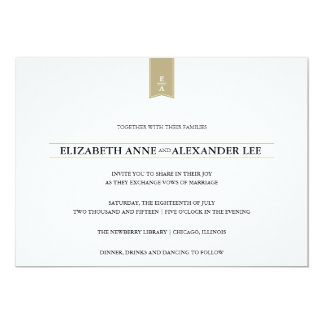 Classic Monograms Gold Wedding Invitation