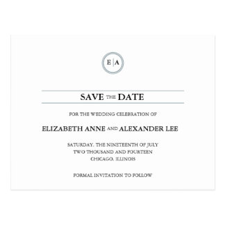 Classic Monograms Silver Save the Date Postcard