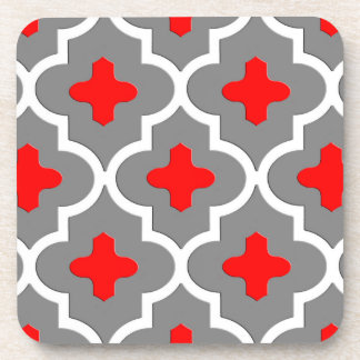 Classic Moroccan Tile, Gray / Grey and Red Coaster