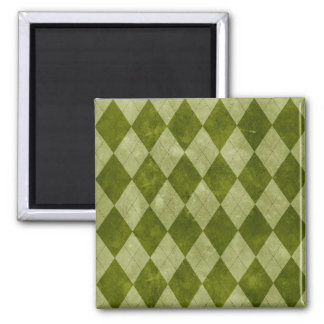 Classic Mossy Green Argyle Geometric Pattern 2 Inch Square Magnet