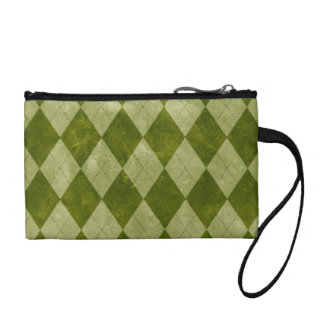 Classic Mossy Green Argyle Geometric Pattern Coin Wallet