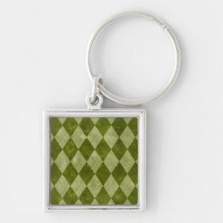 Classic Mossy Green Argyle Geometric Pattern Keychain