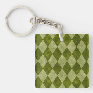 Classic Mossy Green Argyle Geometric Pattern Square Acrylic Keychains