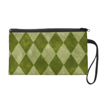 Classic Mossy Green Argyle Geometric Pattern Wristlet Purse